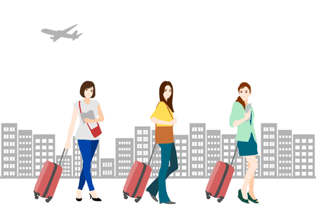 civilisation: Tourists and airplane of the woman