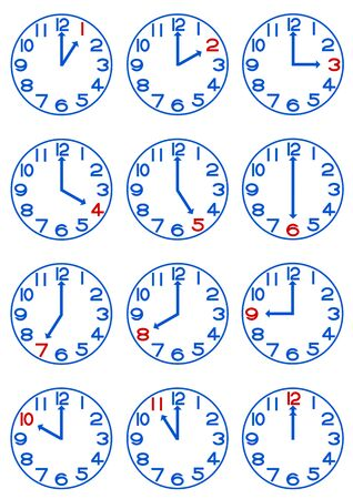 hour hand: Illustration of the clock Stock Photo