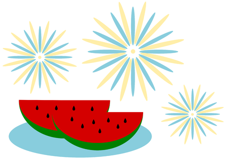 Watermelon and fireworks Illustration