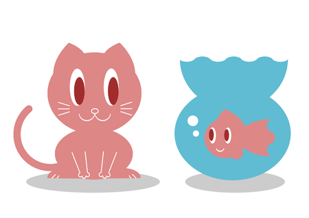 face off: Cat and goldfish Illustration