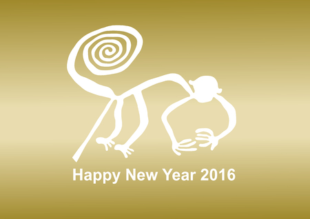 new years: 2016 New Years card Nazca Lines Illustration