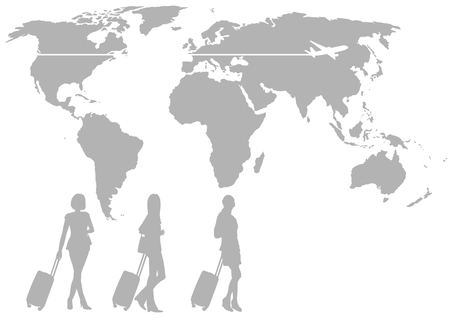 Silhouette and airplane of the world map