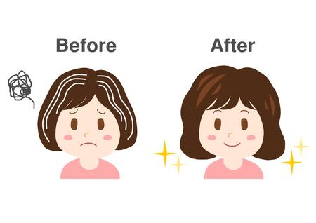 灰色の髪のトラブル  イラスト・ベクター素材