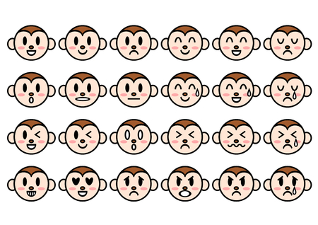 merry mood: 2016 New Years card face of the monkey Illustration