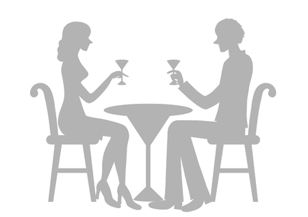 dinner date: Silhouette of the lover