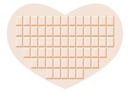 white chocolate: White chocolate of Heart Illustration