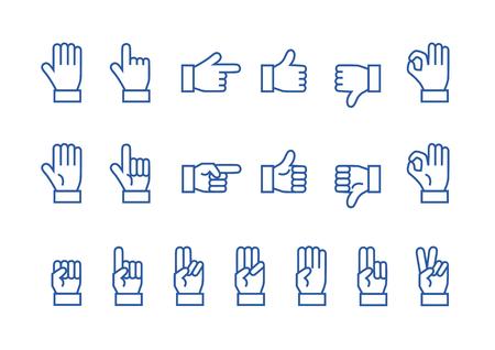Icon of Hand Blue Illustration