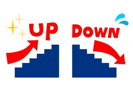 achievement clip art: Stairs and arrow UP DOWN
