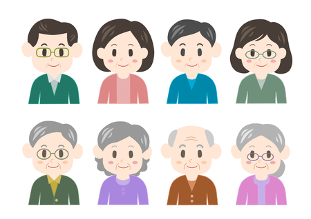 woman middle age: Man and woman of the old and middle age Illustration