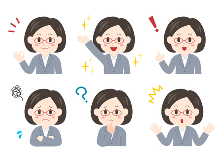 Expression and pose of middle-aged businesswoman Illustration