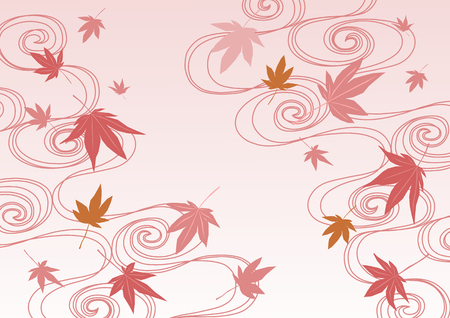 Background illustration of running water and colored leaves Çizim