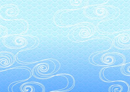 흐르는 물과 일본풍의 배경 일러스트 레이션