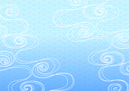 Background illustration of running water and Japanese wave Illustration