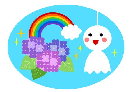 the rainy season: Illustration of rainy season and rainbow Illustration
