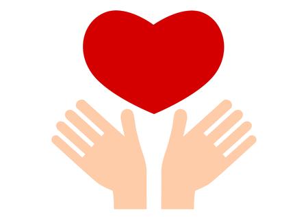 pflegeversicherung: Illustration beider H�nde und Herzen
