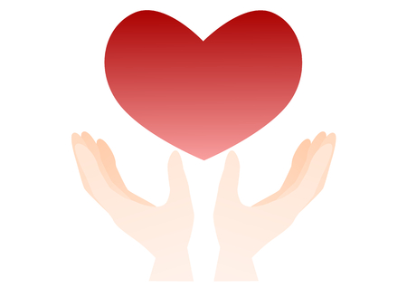 help each other: Illustration of both hands and the heart Illustration