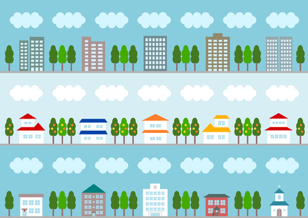 school bills: Illustration of the cityscape