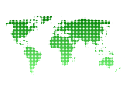 environmental issue: World map of dot pattern