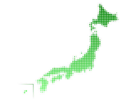 environmental issues: Map of Japan Dot pattern