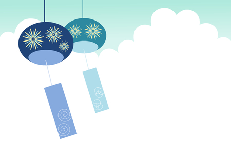 wind chimes: Wind-Bell and blue sky summer image Illustration