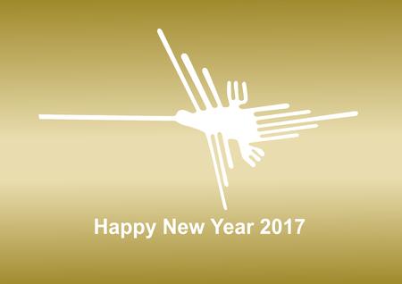 bird illustration: 2017 New Years card Nazca Lines