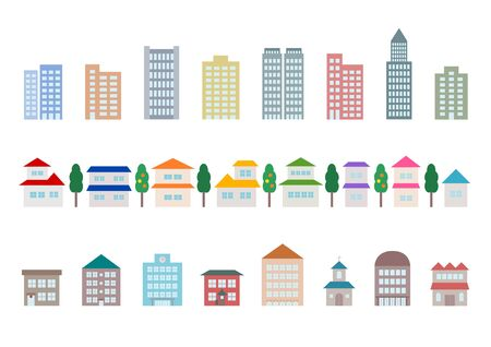 townscape: Icon of townscape and car Illustration