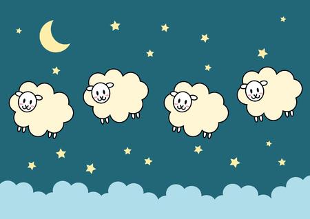Sheep and night Illustration