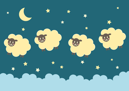Sheep and night  イラスト・ベクター素材