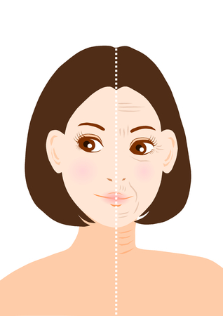 middle age woman: Trouble of Wrinkles Illustration