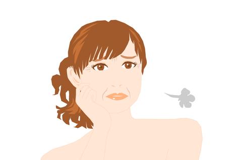 autocuidado: Arrugas de la mujer Vectores