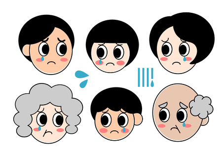 cries: Family Expression Cries Illustration