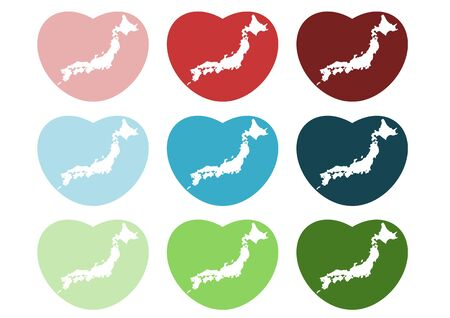 Heart-shaped icon Japan map