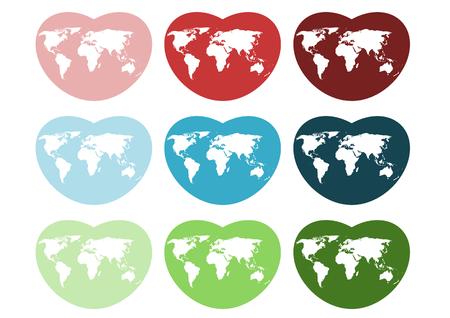 ハートのアイコン世界地図  イラスト・ベクター素材