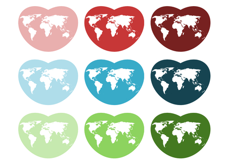 Heart-shaped icon world map Illustration