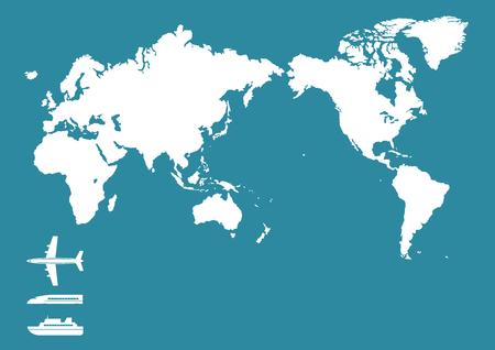 shinkansen: World map and Airplane and Train and Ship Illustration