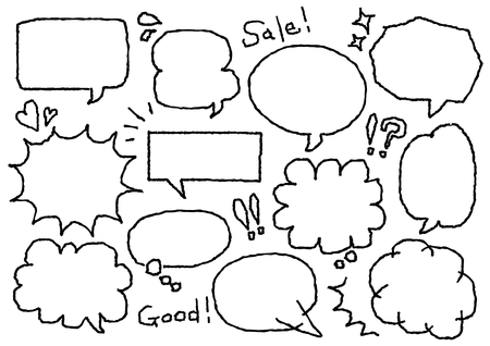 Speech balloon of the freehand drawing 向量圖像