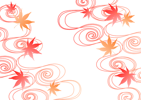 fall about: Background illustration of running water and colored leaves Illustration