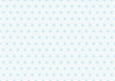 transom: Geometric hemp-leaf pattern pale blue Illustration