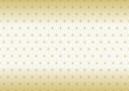 幾何学的な麻の葉のパターン ゴールド  イラスト・ベクター素材