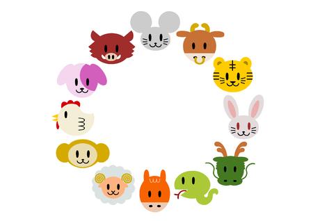 Frame of Chinese zodiac Illustration