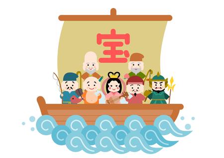 Illustration of Takarabune and Shichifukujin Stock Illustratie