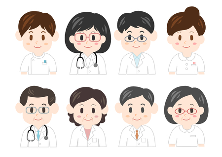 white coat: Illustration of medical personnel Illustration