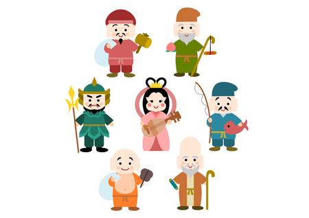 Illustration of The Seven Gods of Fortune Çizim