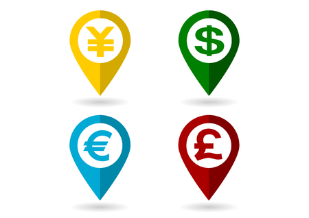 caching: Icon of Dollar and Euro and Pound and Japanese yen Illustration