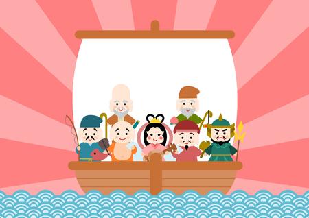 Illustration of Takarabune and Shichifukujin Çizim