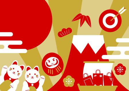 Japanese New Year(Mt.Fuji and Beckoning cat and Dharma dol) Illustration