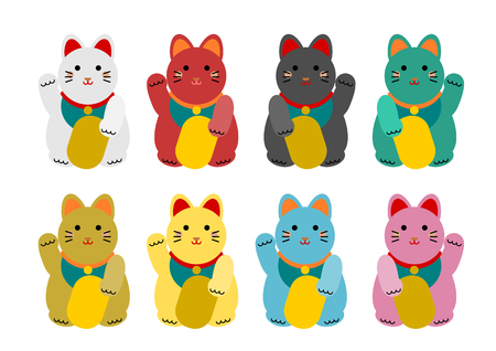 Maneki-Neko welcome cat (beckoning cat, lucky cat) Illustration
