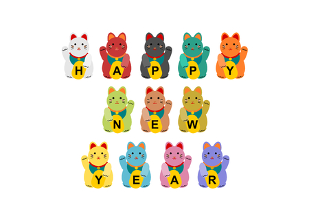 New Year's card of the beckoning cat