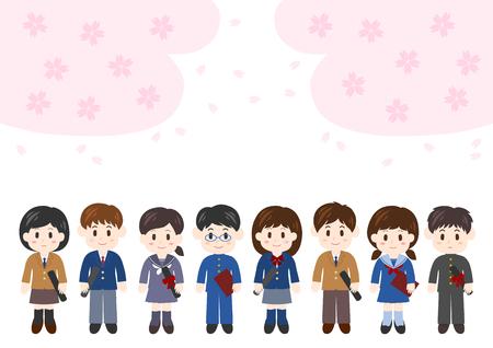 Illustration of graduation ceremony (student and cherry blossom) Illustration