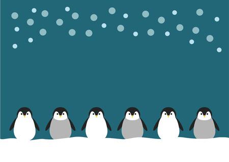 雪とペンギンのイラスト